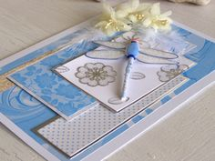 Dragonfly card Blue Happy Birthday Thank you Card by 4SeasonCards, €8.50