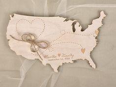 Love Map - Wooden Wedding Ring Bearer Holder See more here: http://4lovepolkadots.com/p/3/391/7210/RING%20%20BEARER%20PILLOWS_wood_01/wdm/pod.html