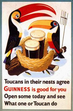 See What Toucan Do Guinness Vintage Poster Print Retro Style Home Bar Decor Retro Advertising, Retro Ads, Vintage Advertisements, Advertising Design, Guinness, Sous Bock, Pub Vintage, Vintage Labels, Vodka