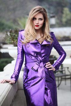 Wearing Burberry Prorsum metallic trench #Purple passion #Purple