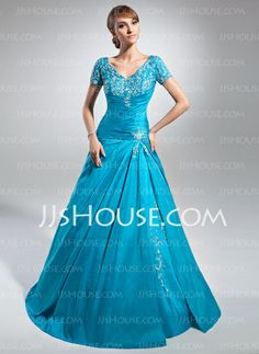 Mother of the Bride Dresses - $156.99 - A-Line/Princess V-neck Floor-Length Taffeta Mother of the Bride Dresses With Embroidered Ruffle (008015084) http://jjshouse.com/A-Line-Princess-V-Neck-Floor-Length-Taffeta-Mother-Of-The-Bride-Dresses-With-Embroidered-Ruffle-008015084-g15084