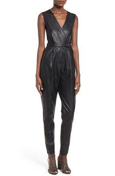 Missguided Wrap Front Faux Leather Jumpsuit