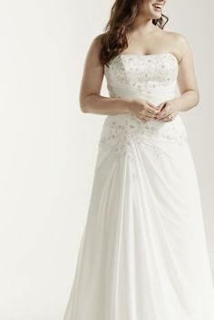 Chiffon Over Satin A-Line Plus Size Wedding Dress | David's Bridal