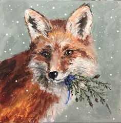 Murfreesboro artist Mary Miller Veazie has been perfecting her paintings for over a decade Art Painting Tools, Fox Painting, Acrylic Painting Canvas, Painting Flowers, Acrylic Art, Canvas Canvas, Painting Techniques, Christmas Paintings, Christmas Art