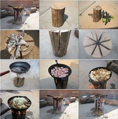 DIY cooking log - New way to cook! called a swedish flame. make your cuts like you're cutting cake. leave about 6 inches at the base. throw some fuel oil (about a cap full) or newspaper in there. burns up to 2-3 hours.