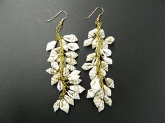 Vintage shell cluster drop earrings by aprilsunrises on Etsy