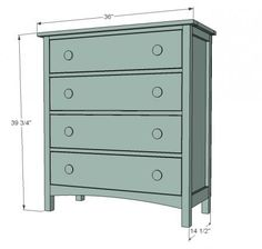 Modify this simple dresser plan to hold dog food/water bowls in bottom drawer with flip open top for storing food. Leave middle drawers to store dog towels, leashes, etc.