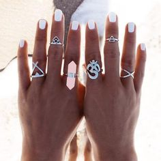 Find the art of healing with this silver boho ring set. The crystal cocktail ring and the Ohm symbol bring peace to your inner being, while the other beautiful rings are wonderful embellishments for y