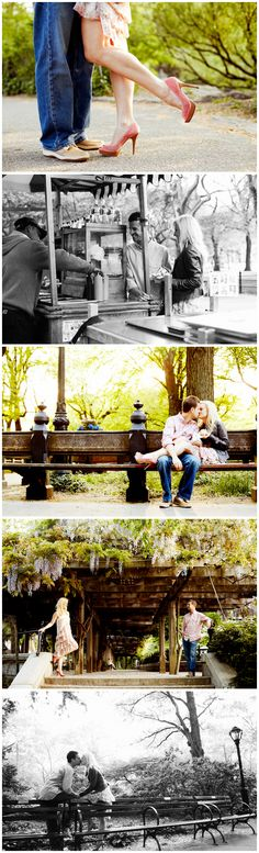 kissing on a park bench - engagement shot