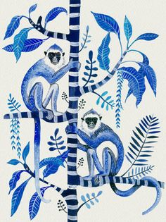 Indigo Monkeys on Frangipani Large Fine Art Giclée Print. Illustration Singe, Tier Zoo, Hollywood Regency Decor, Hamptons Decor, Monkey Art, Motifs Animal, Tropical Decor, Tropical Interior, Décor Tropical