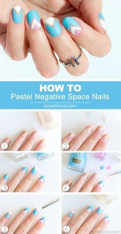 Pastel Negative Space Nail Art- Tutorial
