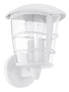 Eglo 93094 Aloria Outdoor White 1 Lamp Up Lantern Wall Light. The Eglo 93094 is part of the Outdoor Wall Lighting range. Modern Outdoor Wall Lighting, Outdoor Wall Lantern, Outdoor Walls, Outdoor Flush Mounts, Outdoor Wall Sconce, Led, Dar Lighting, Dcor Design, Lanterns