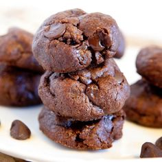 Thick and Soft Chocolate Peanut Butter Cookies (gluten-free) Recipe Desserts with creamy peanut butter, light brown sugar, large eggs, vanilla extract, cocoa powder, baking soda