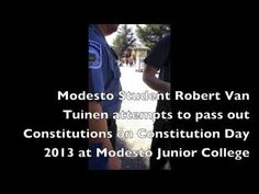 """Students Banned from Passing Out Constitutions on Constitution Day at Modesto Junior College ~ Fill out the forms, make an appointment and stand in the square... then you can have your """"Free"""" Speech."""
