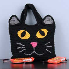 Black Cat  Halloween Trick-or-Treat Bags  Hand by StitchedInADream
