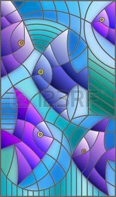 vitral: Illustration in stained glass style abstract fish Glass Painting Designs, Stained Glass Designs, Stained Glass Patterns, Paint Designs, Stained Glass Quilt, Stained Glass Windows, Mosaic Art, Mosaic Glass, Glass Wall Art