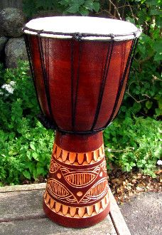 """Djembe Drum, Beginner Series, carved mahogany wood (8"""" Drum Head)...Great for all ages, good sound...Perfect extra drum to have around the house...Choose from Tribal design or Lizard."""