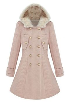 ROMWE | Double-breasted Hooded Pink Woolen Coat, The Latest Street Fashion