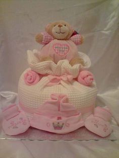 Single Tier Teddy Bear Nappy Cake