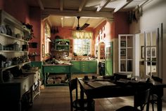 Kitchen Design, Awesome Country Cottage Style Kitchens Designs Also Cool Green Kitchen Cabinet Door And Kitchen Table Also Cerise Wall Paint...