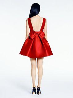 open back silk mini dress, dynasty red