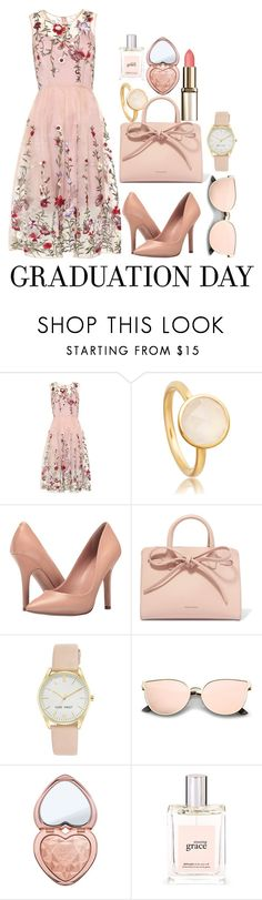 """""""Grad Party"""" by fantasialillies on Polyvore featuring Charles by Charles David, Mansur Gavriel, Nine West, Too Faced Cosmetics, philosophy and Graduation"""