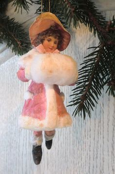 pink little wintergirl spun cotton Victorian Christmas Ornaments, Pink Christmas, Christmas Crafts For Gifts, Christmas Decorations, Cotton Crafts, Paper Ornaments, Old Fashioned Christmas, Vintage Crafts, Christen