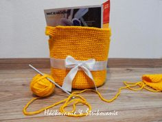 PRICE: 10€ / 10$  Yellow Crochet Basket #handmade made of VLNAP yarn, YETTY ( 100% acryl ) #giveitachance#tryit  #inspiration#crochet#basket