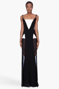 MUGLER Black combo geometric Cutout Gown