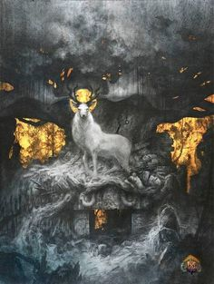 """""""EIKTHYMIR - this was the deer that stood on the roof of VALHALLA, and ate from the leaves of the great oak tree LAERRAD. From the horns dripped water, which was were all the rivers in the world came from.""""  ~odinsraven"""
