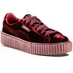 Fenty Puma x Rihanna Women's Velvet Lace Up Creeper Sneakers ($150) ❤ liked on Polyvore featuring shoes, sneakers, burgundy, mens lace up shoes, mens purple shoes, puma mens sneakers, mens shoes and mens sneakers