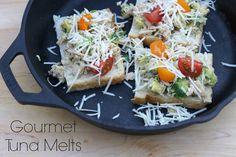 Heirloom tomato, Avocado and Gruyere Gourmet Tuna Melts #TunaMelt #Tuna