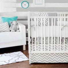 Gray Chevron Zig Zag Crib Bedding Set