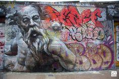 Spanish artists Pichi & Avo rolled through London this week and painted a dedication to legendary graffiti writer Robbo (rip) (londonstreetartdesign.co.uk) #streetart jd