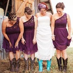 Purple Lace One Shoulder A-line Rustic Country Chiffon Bridesmaid Dresses with Cowgirl Country Bridesmaid Dresses, Country Wedding Dresses, Wedding Party Dresses, Wedding Country, Light Purple Bridesmaid Dresses, Country Prom, Country Style, Dresses With Cowboy Boots, Cowgirl Boots