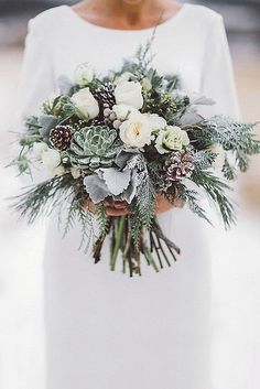 Rustic Evergreen and Succulent Bouquet // winter wedding, pinecone, grey, dusty miller, snow, bride, bridesmaids