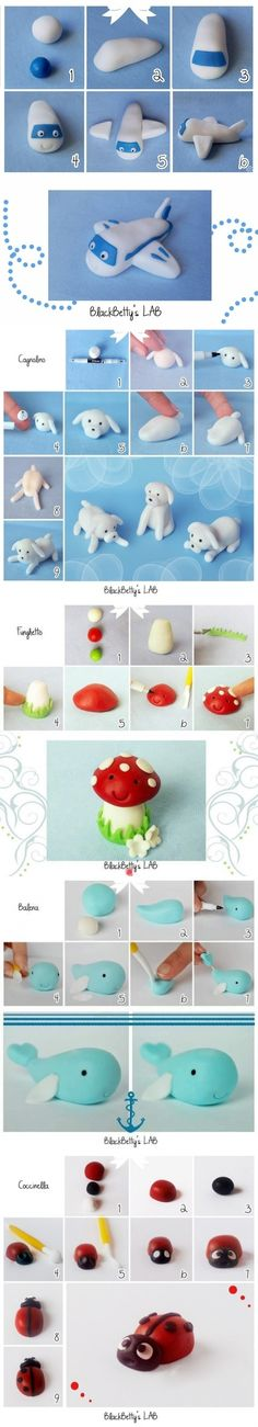 Plane - Dog - Mushroom tutorials Cake Topper Tutorial, Fondant Tutorial, Clay Crafts, Diy And Crafts, Kids Clay, Fondant Animals, Fondant Decorations, Miniature Crafts, Cake Decorating Tips