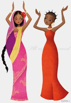 bollywood + africa - dancers from illustrator Sybil