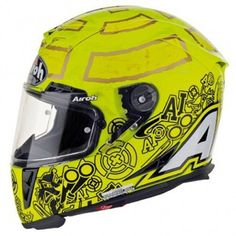 This is the brand new Andrea Iannone Airoh that is available in bright yellow. An eyecatching and aggressive street helmet. Andrea Iannone, Motorcycle Helmet Design, Kids Helmets, Beast From The East, Sports Helmet, Bright Yellow, Custom Art, Tanks, Racing