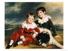 "Portrait of Two Boys in Green and Red Velvet Suits by Ramsay Richard Reinagle. Great article on when Regency boys were ""breeched""."