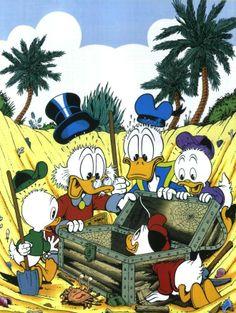 Find Treasure by Don Rosa Disney Duck, Disney Mickey, Walt Disney, Cartoon Drawings, Cartoon Art, Cartoon Characters, Old Cartoons, Disney Cartoons, Don Rosa