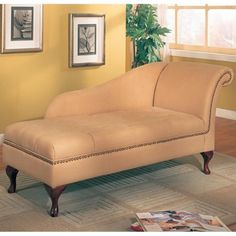 Accent Seating Microfiber Beige Chaise Lounge with Flip Open Seat