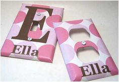 Personalized Outlet Covers... this would be pretty easy to do yourself with contact paper and vinyl letters or even scrapbook paper and paper letters :)