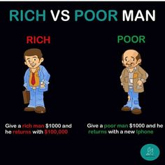 Rich vs poor man - Finance tips, saving money, budgeting planner Business Coach, Business Money, Online Business, Financial Quotes, Financial Literacy, Business Motivation, Business Quotes, Business Ideas, Rich Vs Poor