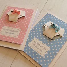 Personalised new baby boy or girl card featuring origami nappy with blue or pink bow and safety pin detail. Special new grandparent card. Baby Boy Cards, New Baby Cards, Baby Shower Cards, Birth Congratulations, Pin Card, Stamping Up Cards, Origami, Creative Cards, Kids Cards
