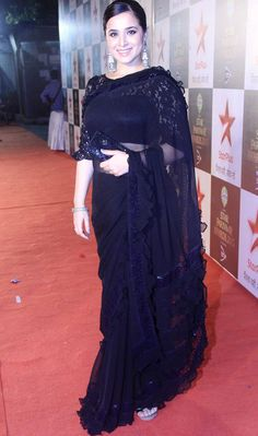 Buy Navy Blue Color Ruffle Saree by Akanksha Singh at Fresh Look Fashion Indian Celebrities, Bollywood Celebrities, Pakistani Outfits, Indian Outfits, Look Fashion, Indian Fashion, Bollywood Dress, Bollywood Fashion, Elegant Saree