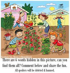 "Highlights Hidden Pictures Puzzles - Find 6 hidden words in ""Gardening fun. Hidden Words In Pictures, Highlights Hidden Pictures, Hidden Picture Puzzles, Word Pictures, Hidden Pics, English Activities, Fun Activities, Picture Comprehension, Word Challenge"