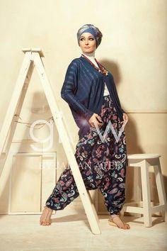palazzo pants hijab style with crochet cardigan