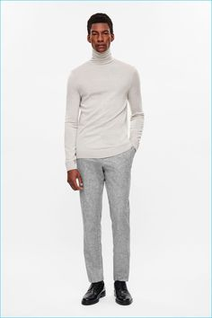 Try teaming a grey turtleneck with grey wool dress pants - this look will definitely turn every head in the proximity. A great pair of black leather derby shoes pulls this getup together. Turtleneck Outfit, Grey Turtleneck, Grandad Collar Shirt, Collar Shirts, Grey Wool Suit, Derby Shoes, Slim Fit Pants, Wool Pants, Wool Dress