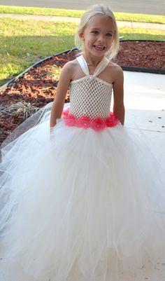 kids girls Formal Flower Girl Tutu Dress with Rhinestones & pearls special occasion birthday wedding by 1583Designs, $68.99